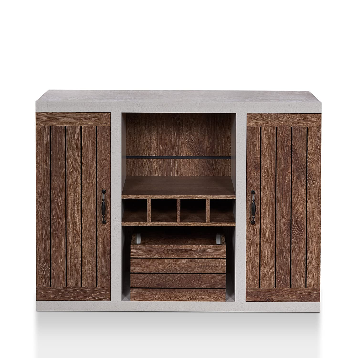 ioHOMES Cato Industrial Two-Tone Buffet with Open Shelf, Wine Bottle Holder, Slatted Drawer and Cabinets, Distressed Walnut and Cement