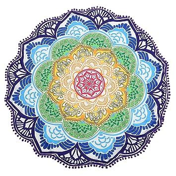 Jeteven Redondo de Flor de Loto Tapiz, Colgante de Pared Mandala con Flecos Toalla de Playa Picnic Alfombrilla de Yoga decoración del hogar: Amazon.es: ...
