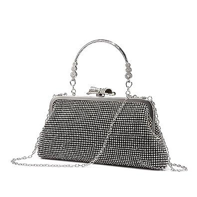 dbc68c6dbbc20 LOVEVOOK Evening Bag Clutch Purse for Wedding with Rhinestones Black ...