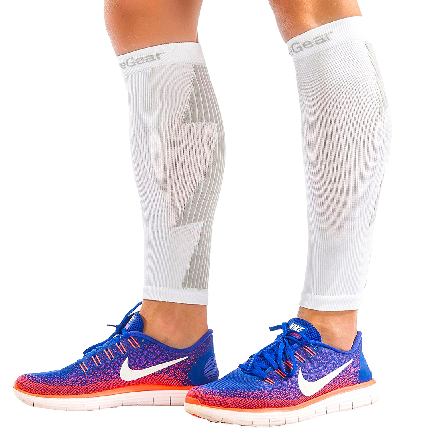 ActiveGear Calf Compression Sleeves for Men and Women to Improve Circulation and Recovery - White/Gray S/M (One Pair) by ActiveGear