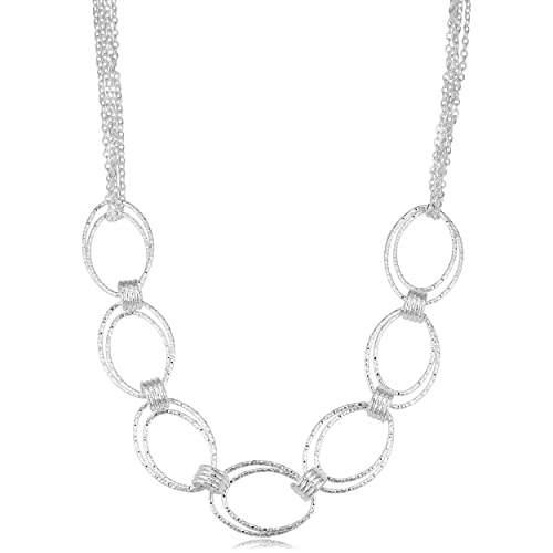 d2cc4477d3a31 Amazon.com: Sterling Silver Diamond Cut Oval Link Multi-Strand ...