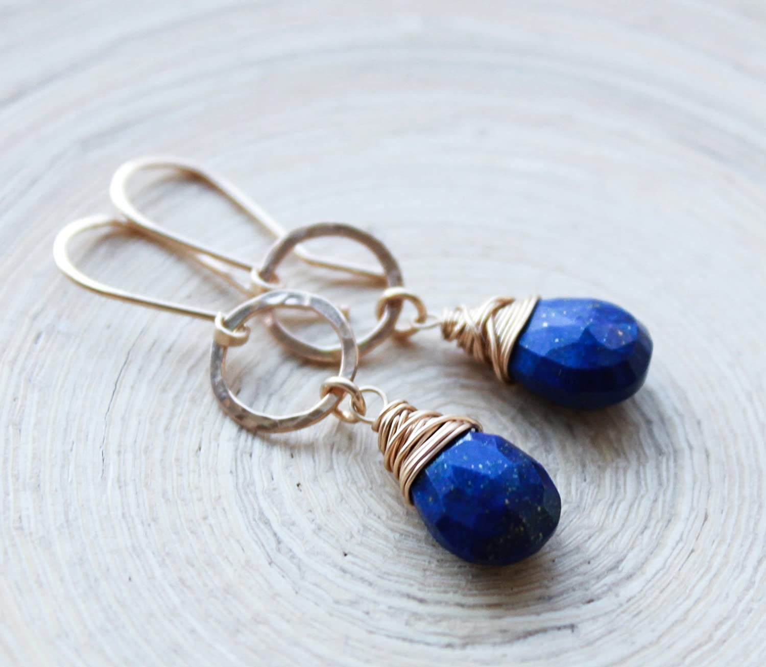 Wedding Bridal December Birthstone 9th anniversary Natural Lapis Lazuli Wire Wrapped Earrings in Solid Sterling Silver Healing