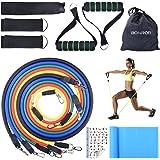 BONROB Bande de Résistance, kit de 12 Pièces Bandes Elastiques - Bandes Elastiques Fitness d'exercice Bandes d'exercice pour Yoga/Pilates/d'Abs/Gym/Musculation/Rééducation - Homme/Femme BC007