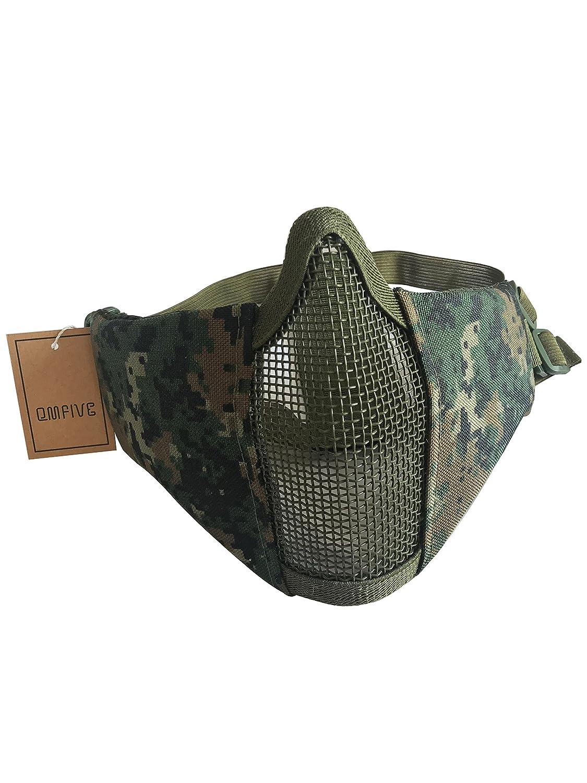 68496af7ad QMFIVE Tactical plegable ajustable y correa de cinturón elástico de malla  protectora mascara mascara de media