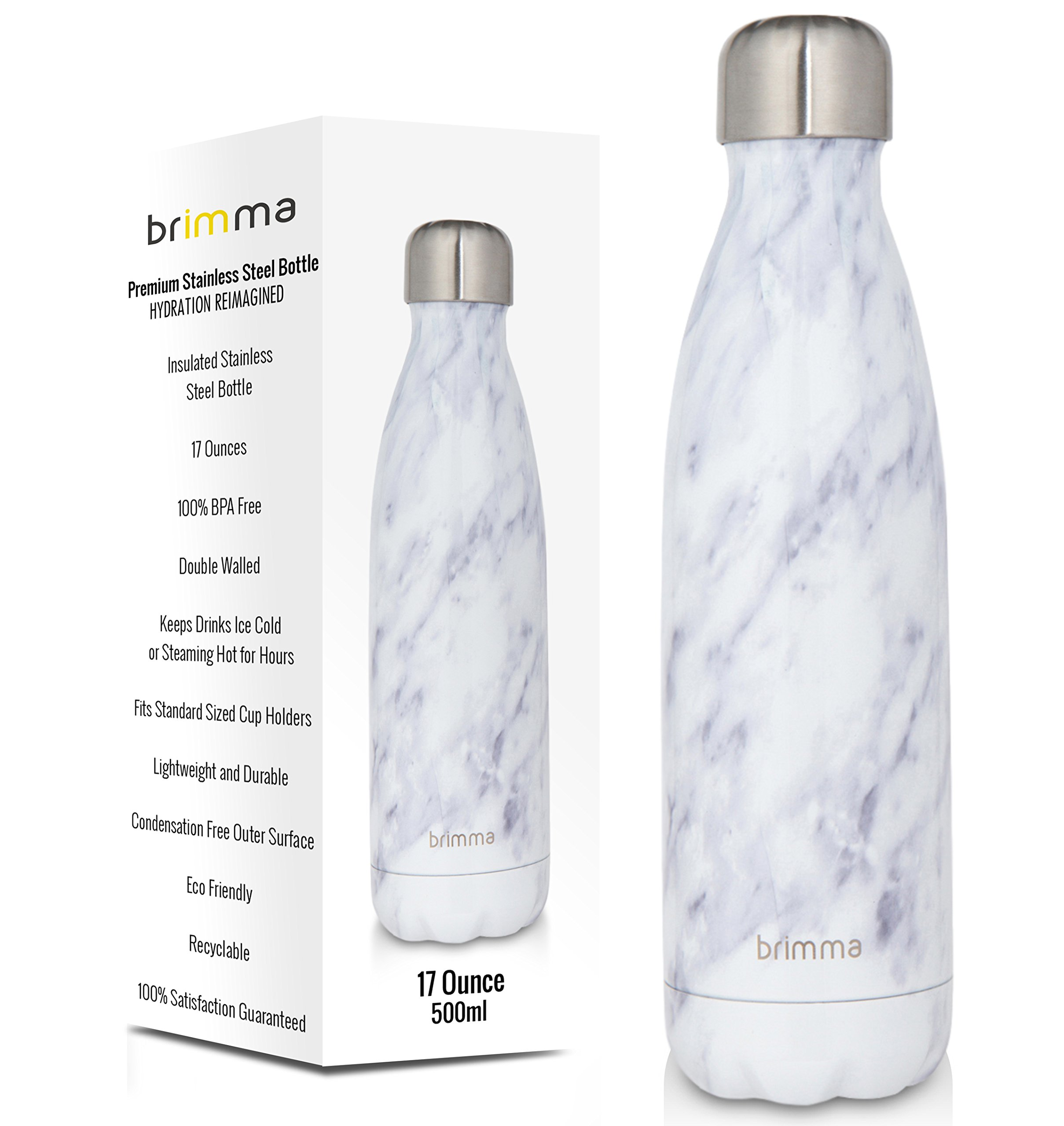 Brimma Vacuum Insulated Water Bottle - Double Walled Stainless Steel Travel Bottle For Hot & Cold Drinks - 100% Sweat & Leak Proof Portable Thermos Flask - 17 Oz (500 ml) (White Marble) by Brimma (Image #1)
