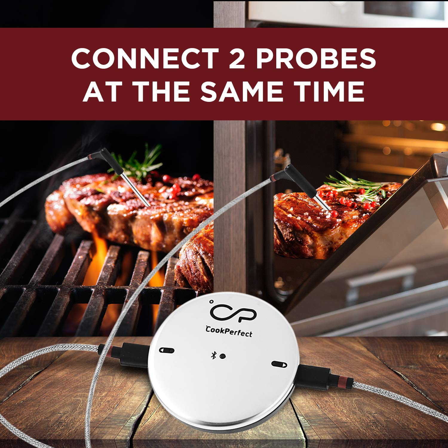 CookPerfect Wireless Meat Thermometer with 400ft Bluetooth Range | Automatic Core and Air Temperature Readings | for BBQ, Oven and Grill Cooking (1 Probe Included) by CookPerfect (Image #5)