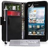 Huawei Ascend Y300 Tasche Schwarz PU Leder Brieftasche Hülle Mit Griffel Stift