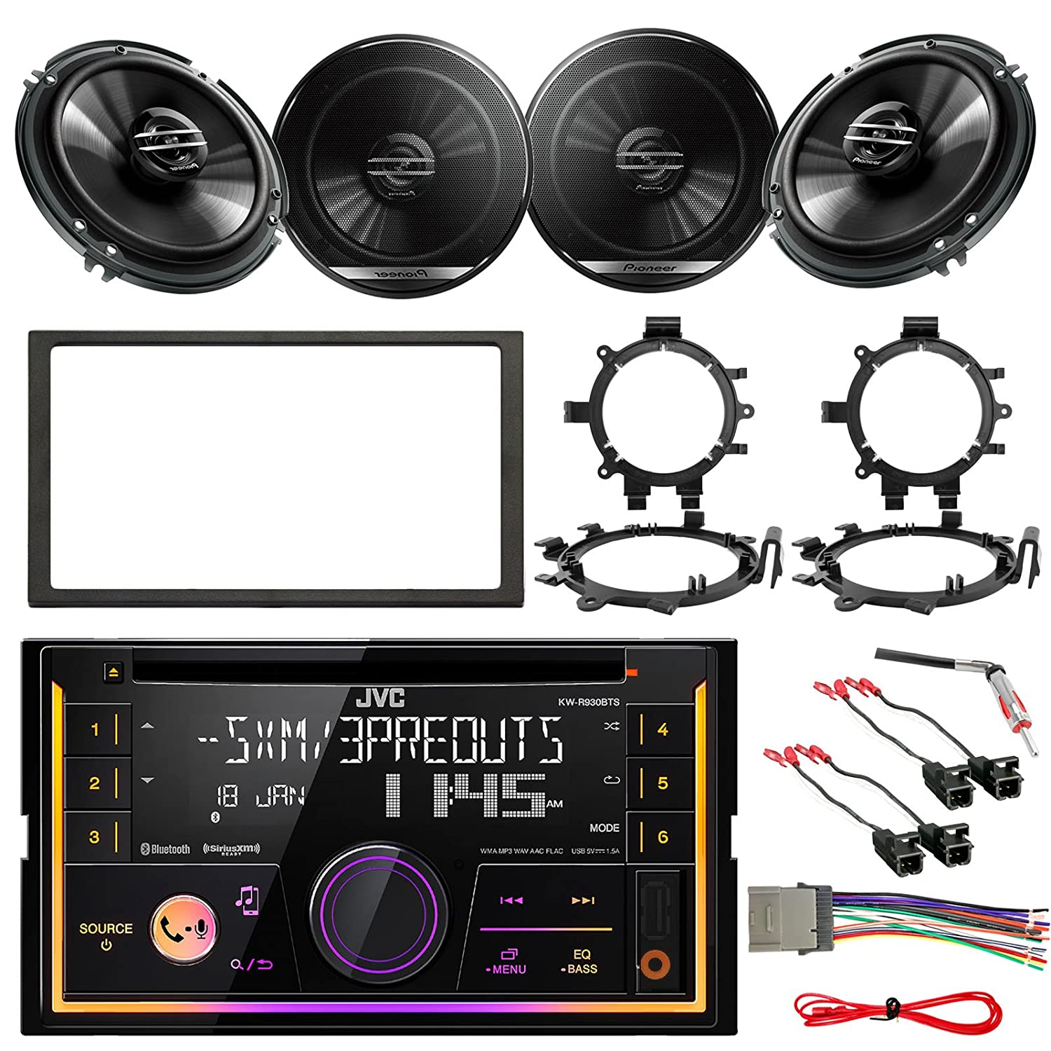 Jvc Kw R930bts Double Din Bluetooth Car Cd Player Stereo Wiring Harness Power Plug Receiver Bundle Combo With 4 X 65 300w Coaxial Speakers W Brackets 4x