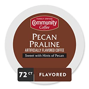 Community Coffee Pecan Praline Flavored Medium Roast Single Serve 72 Ct Box, Compatible with Keurig 2.0 K Cup Brewers, Medium Full Body Sweet Hints of Pecan, 100% Arabica Coffee Beans