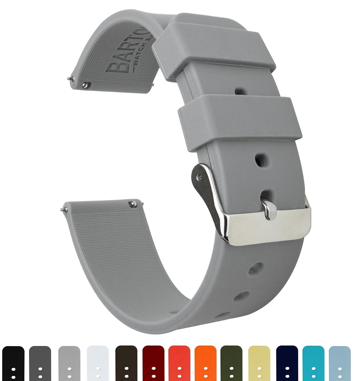 BARTON シリコン クイックリリース – 24 mm幅 – 様々な色 – 絹のようなソフトラバー ウォッチバンド 24mm クールグレー クールグレー クールグレー B01NAIE6M6