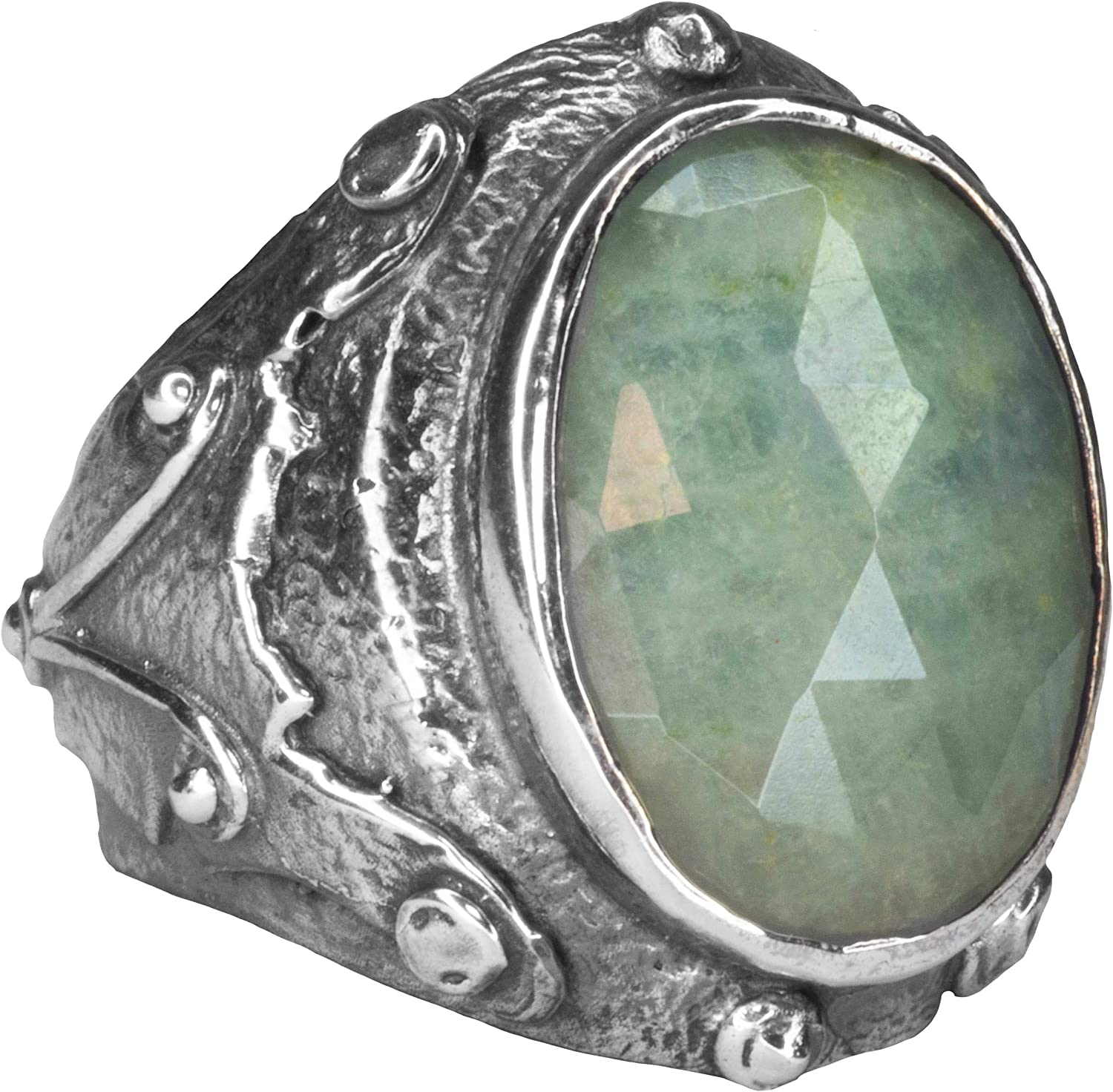 Falcon Jewelry 925 Sterling Silver Mens Ring Antique Ring Free Express Shipping Aquamarine Natural Gemstone
