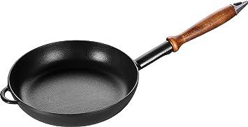 Staub Frying Pan Sartén de Hierro, Fundido, Negro, 24 cm