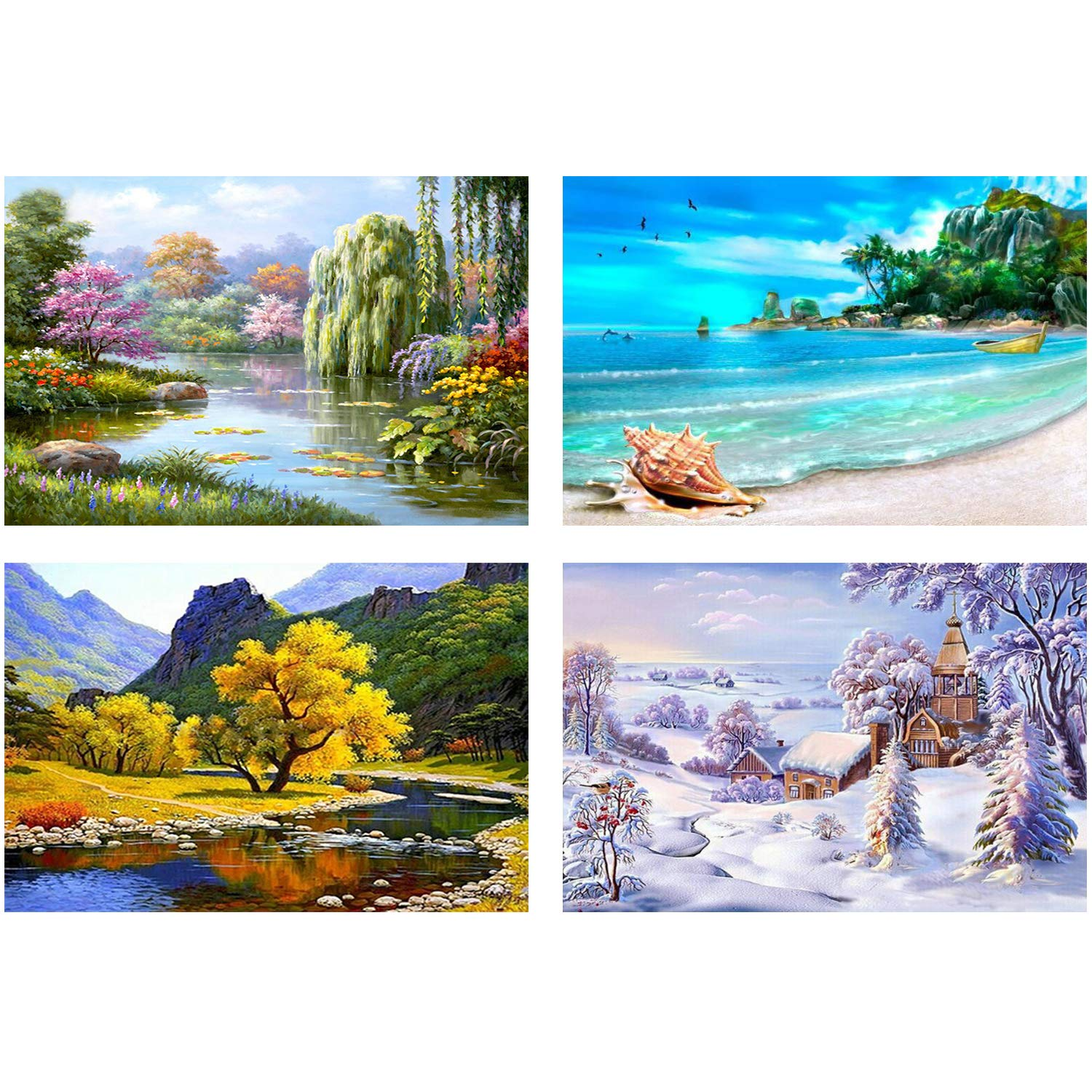 4 Pack 5D DIY Diamond Painting by Number Kits Full Drill Four Seasons Landscape Cross Stitch Rhinestone Embroidery Paintings Four Seasons Pictures for Home Decoration