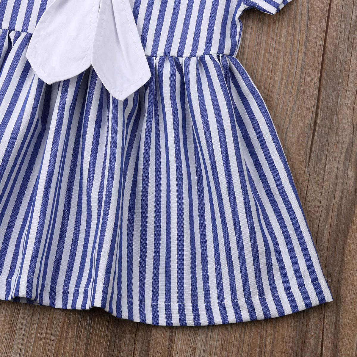 Infant Baby Toddler Girls Bowknot Sailor Stripe Marine Navy Dress Onesie Outfit