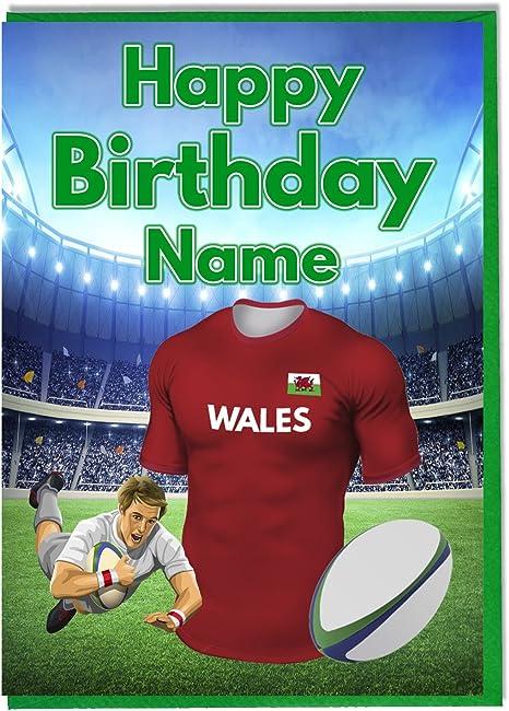 Akgifts Maillot De Rugby Du Pays De Galles Carte D Anniversaire Personnalise N Importe Quel Nom Ou Age Imprime Sur Le Devant Amazon Fr Cuisine Maison