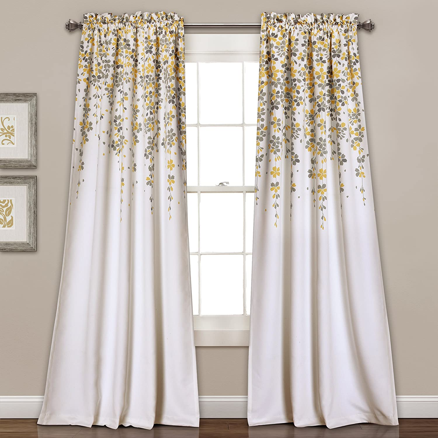 Lush Decor 16T000558 Weeping Flowers Room Darkening Window Panel Curtain Set Yellow/Gray