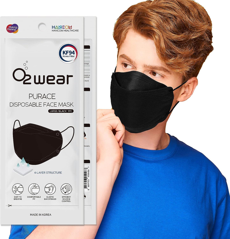 KF94 Face Mask for Adult (Black), 4 Layers, All Materials KOREA Origin, HANCOM