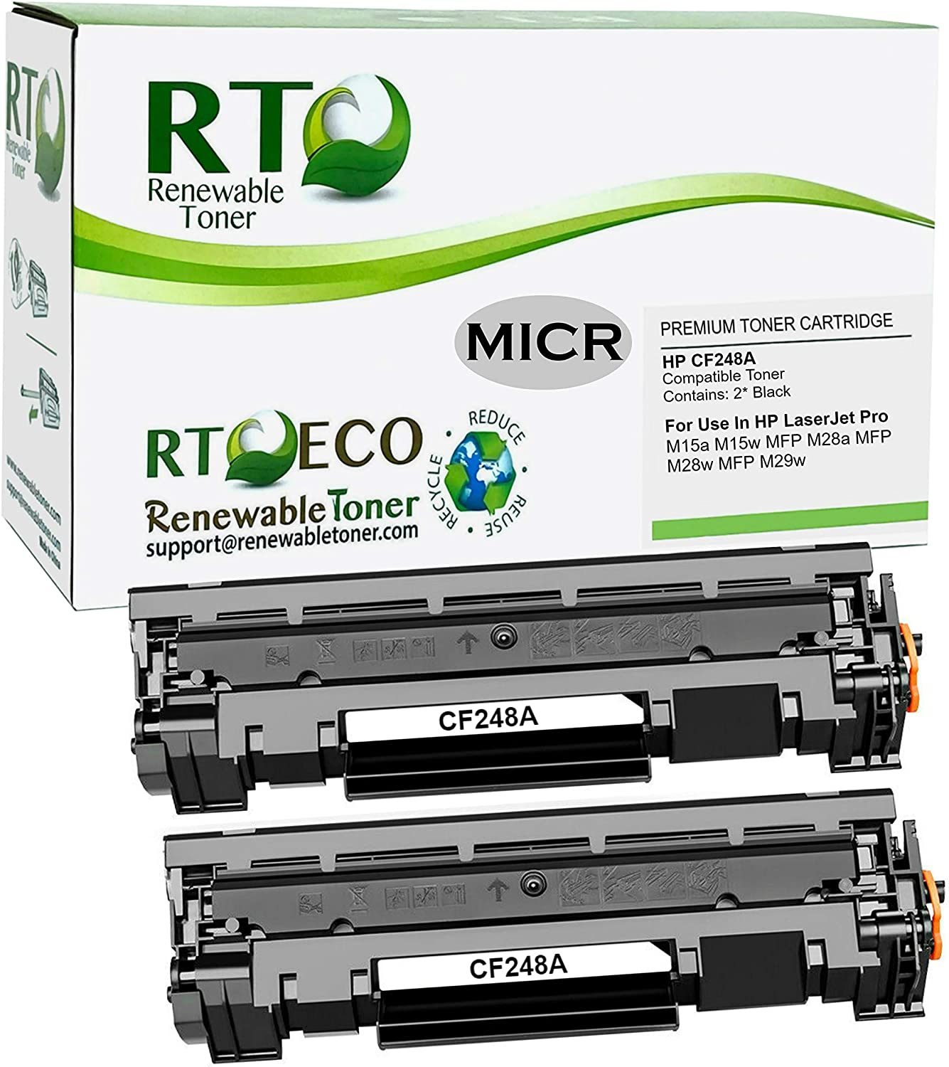 Renewable Toner Compatible MICR Toner Cartridge Replacement for HP CF248A 48A Laserjet M15 M16 M28 M29 (2 Pack)