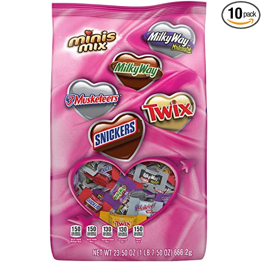 SNICKERS, TWIX, MILKY WAY & 3 MUSKETEERS Valentine's Day Chocolate Candy Minis Mix, 23.50-Ounce Bag, pack of 10