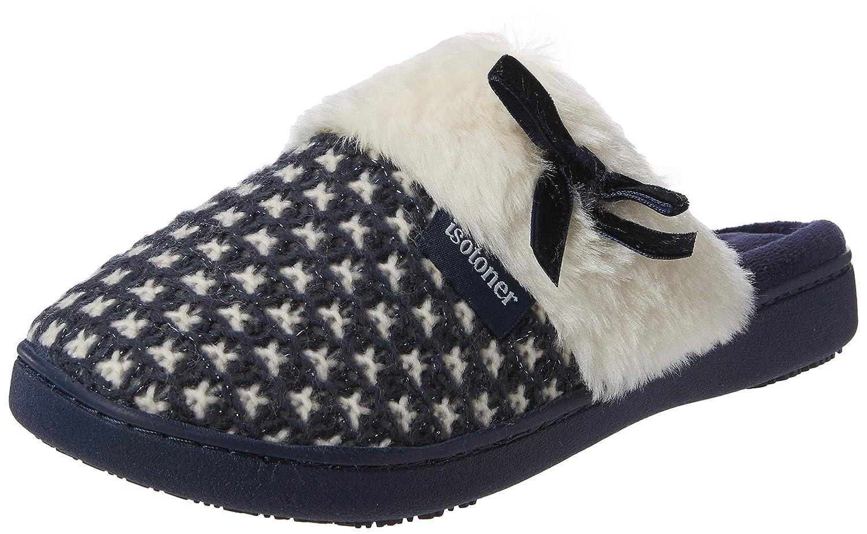 Isotoner Knit Mule Faux Fur Cuff Slipper, Pantoufles Femme 95561