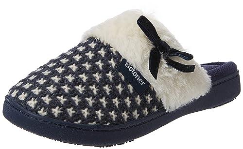 Isotoner Knit Mule Faux Fur Cuff Slipper, Zapatillas de Estar por casa para Mujer: Amazon.es: Zapatos y complementos