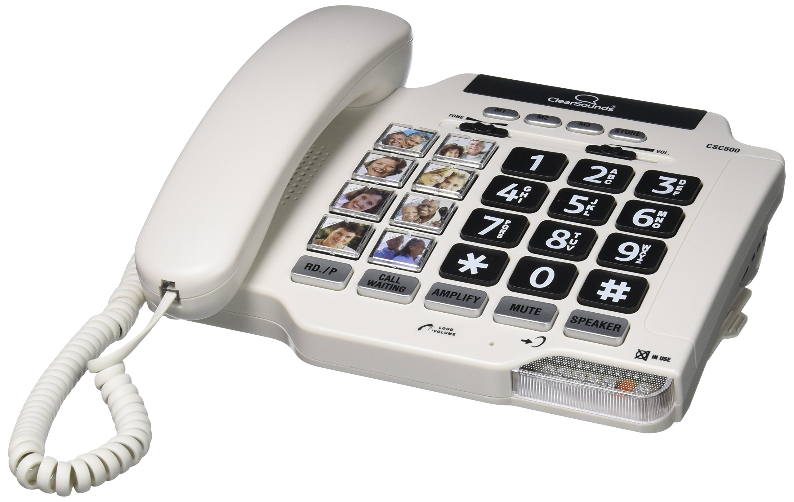 ClearSounds CSCSC500 Amplified Landline Telephone with Speakerphone and Photo Frame Buttons - White