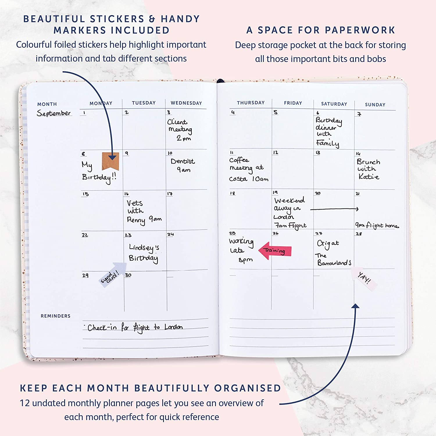 Busy B Pretty 2019-20 Mid Year Busy Life Diary with Dual schedules and Pockets