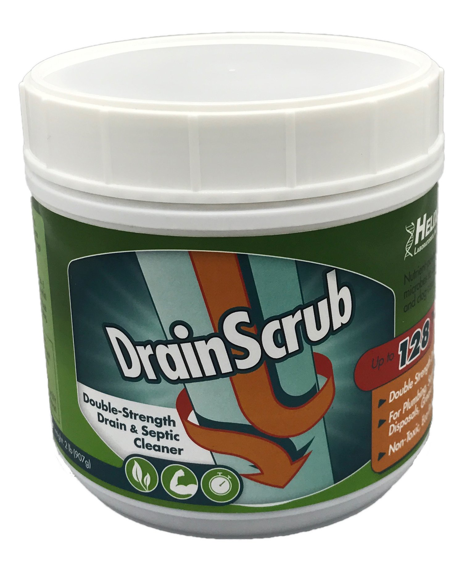 DrainScrub Powder Enzyme Drain Cleaner and Septic Treatment Environmentally Friendly Bacteria Unclog and Deodorize Pipes (2 lbs) by HELIX LABORATORIES, INC.