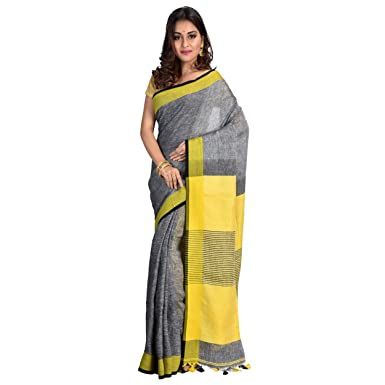 5a9e8ae90af7c5 Roxyma Women s Linen Saree with Running Blouse Piece (RSAR41257P ...