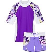 Tuga Girls Two-Piece Short Sleeve Swimsuit Set 2-14Years, UPF 50+ Sun Protection