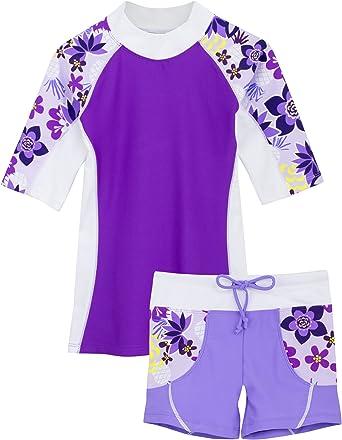 PHIBEE Girls Short Sleeve Rash Guard Set UPF 50 Sun Protection Two-Piece Swimwear