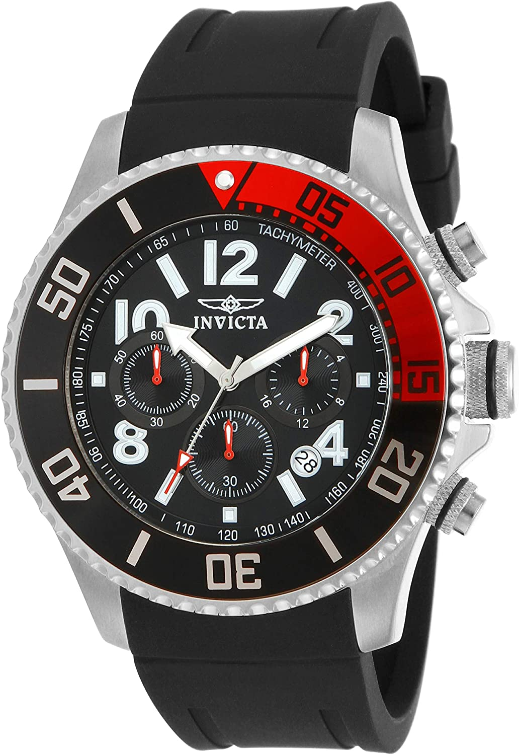 Invicta Men s 15145 Pro Diver Stainless Steel Watch With Black Polyurethane Band