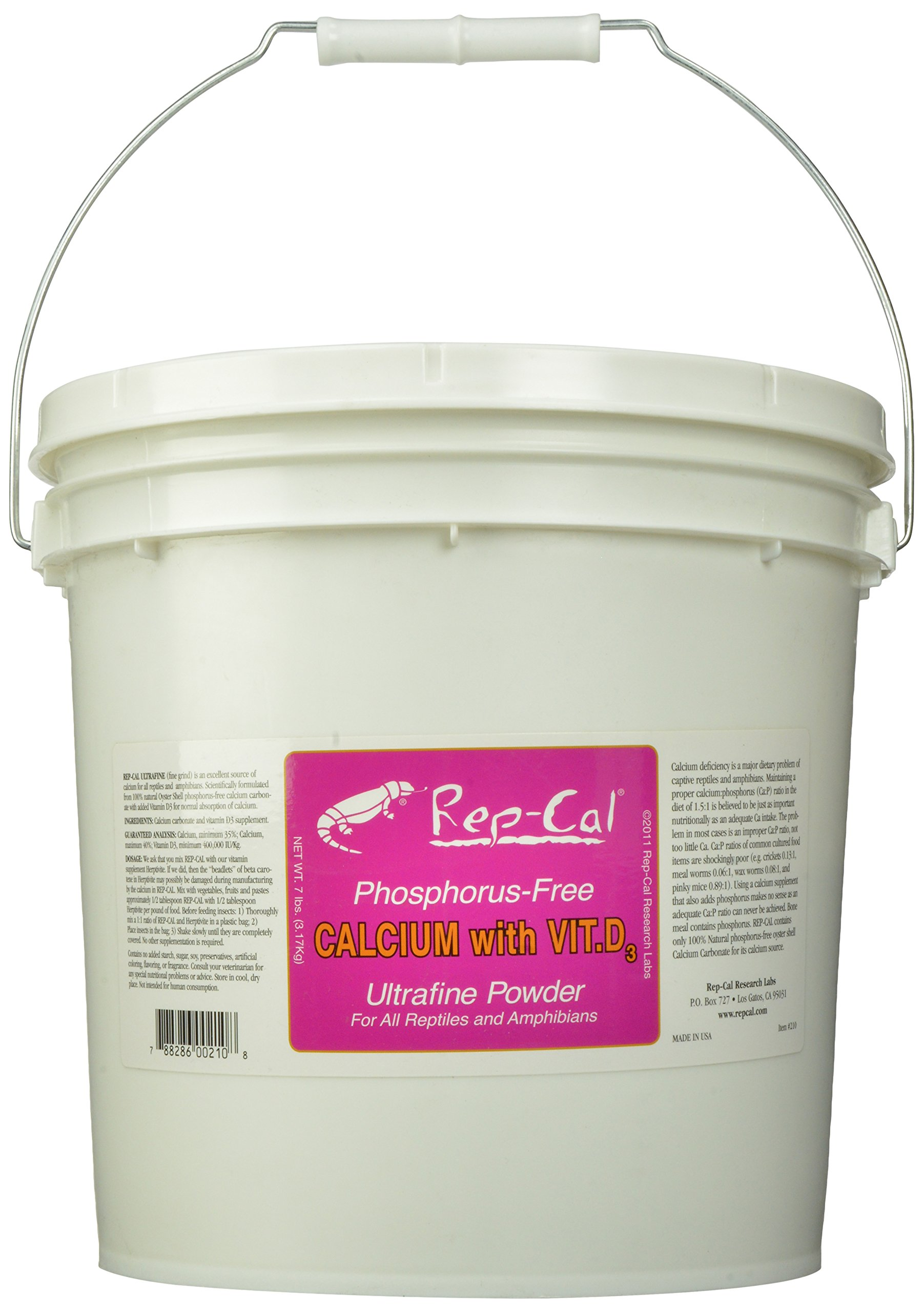 Rep-Cal SRP00210 Phosphorous-Free Calcium Ultrafine Powder Reptile/Amphibian Supplement with Vitamin D3, 7-Pound by Rep-Cal