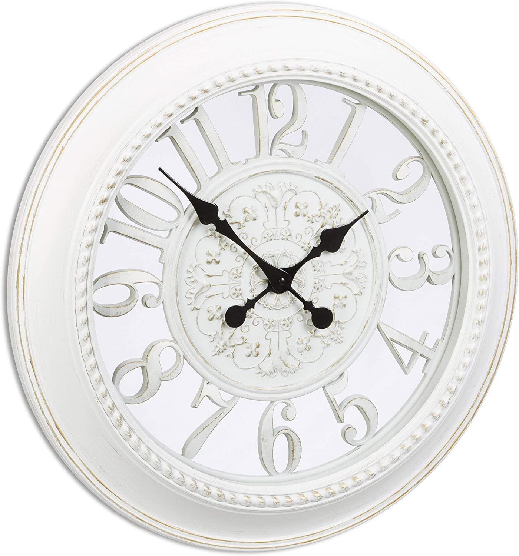 Relaxdays Wanduhr Design Reloj de Pared Vintage en Formato XL, Blanco, 6x56x56 cm