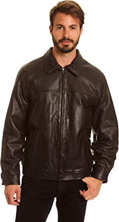Excelled Mens Big and Tall Lambskin Leather Parka