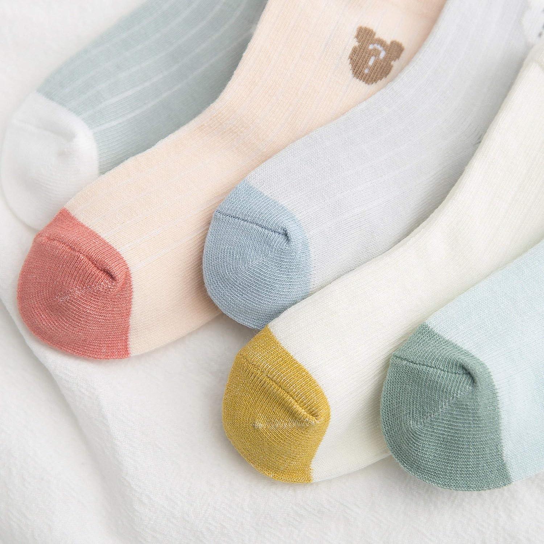 Chaussette Mi Bas /à Rayure Multicolore pour Gar/çons Filles de 0-5 Ans DEBAIJIA 5 Paires Chaussettes B/éb/é Enfant en Coton Color/é Doux Respirant pour Printemps///Ét/é//Automne