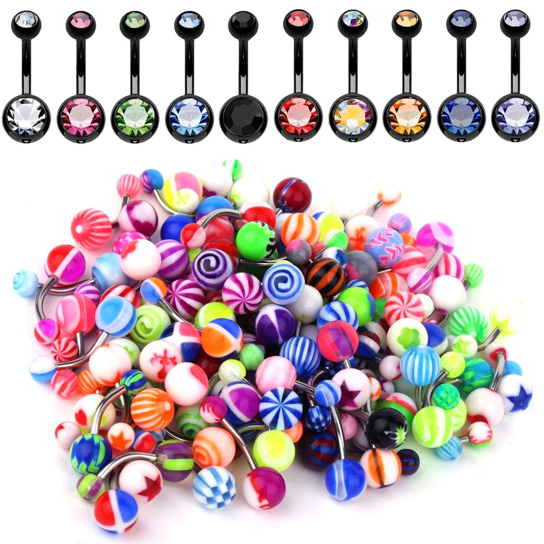 BodyJ4You 60PC Belly Button Ring Set 14G Mix CZ Steel Acrylic Bioflex Banana Bar Body Piercing Jewelry BN1520