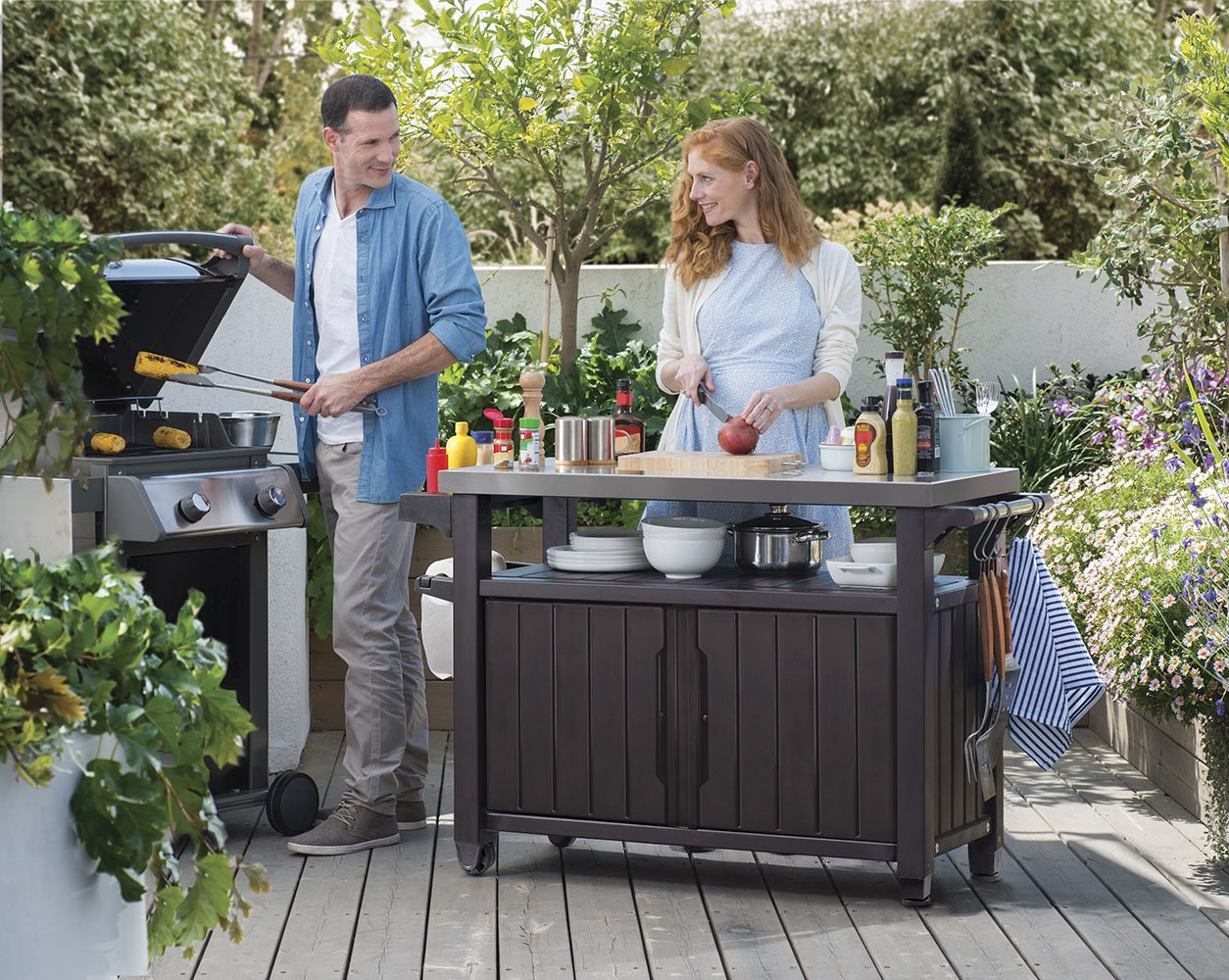 Keter Unity XL Indoor Outdoor Entertainment BBQ Storage Table / Prep Station / Serving Cart with Metal Top by Keter (Image #2)