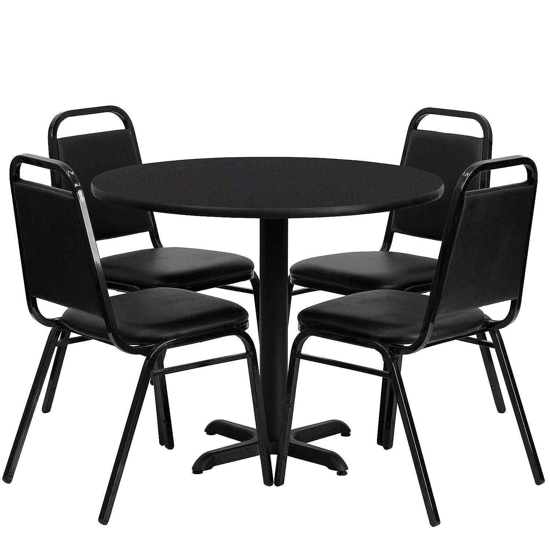 Amazon.com: Flash Furniture 36u0027u0027 Round Walnut Laminate Table Set With 4  Black Trapezoidal Back Banquet Chairs: Kitchen U0026 Dining