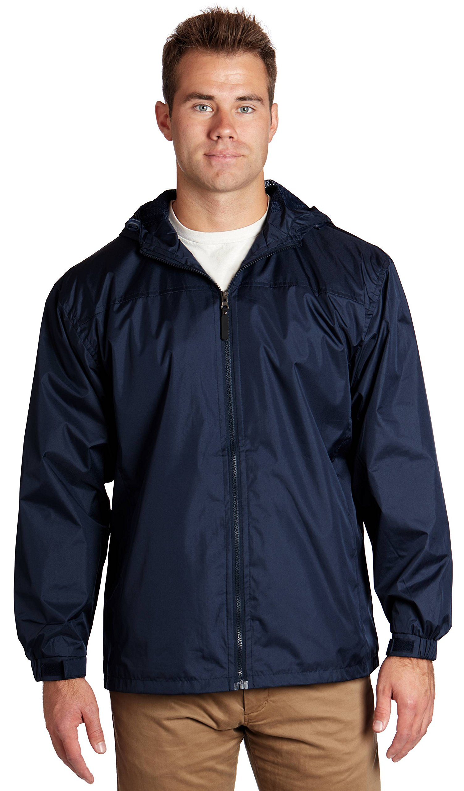 Equipment De Sport, USA Wholesale Unisex Polyester Hooded Lined Windbreaker Jackets - Navy, X-Large by Equipment De Sport USA