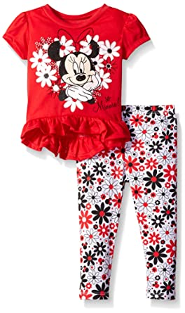 551602cb8d9a Amazon.com  Disney Baby Girls  Minnie Mouse Legging Set with Fashion ...