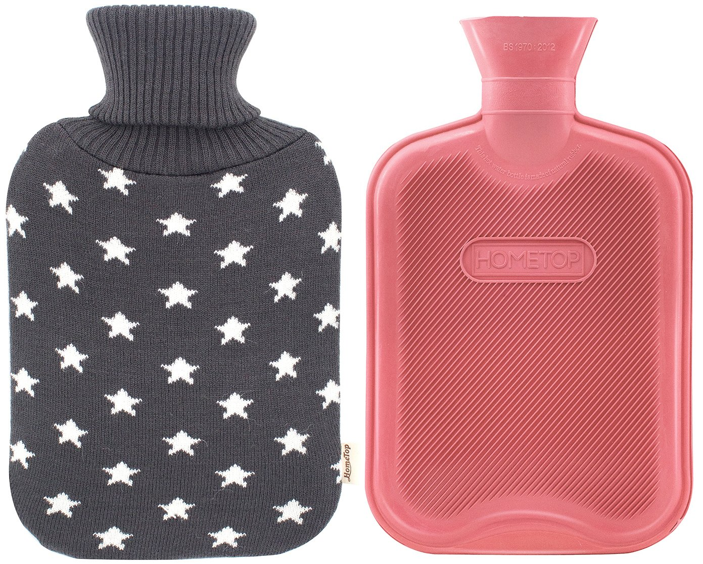 Premium Classic Rubber Hot Water Bottle and Star Print Knit Cover (2L, Dark Gray)