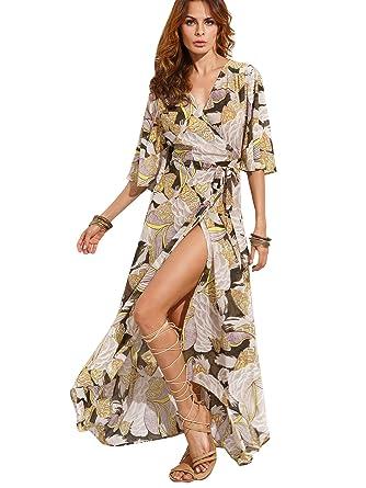 fd52d7d49a Milumia Women s Boho Deep V Neck Floral Chiffon Wrap Split Long Dress  (X-Small