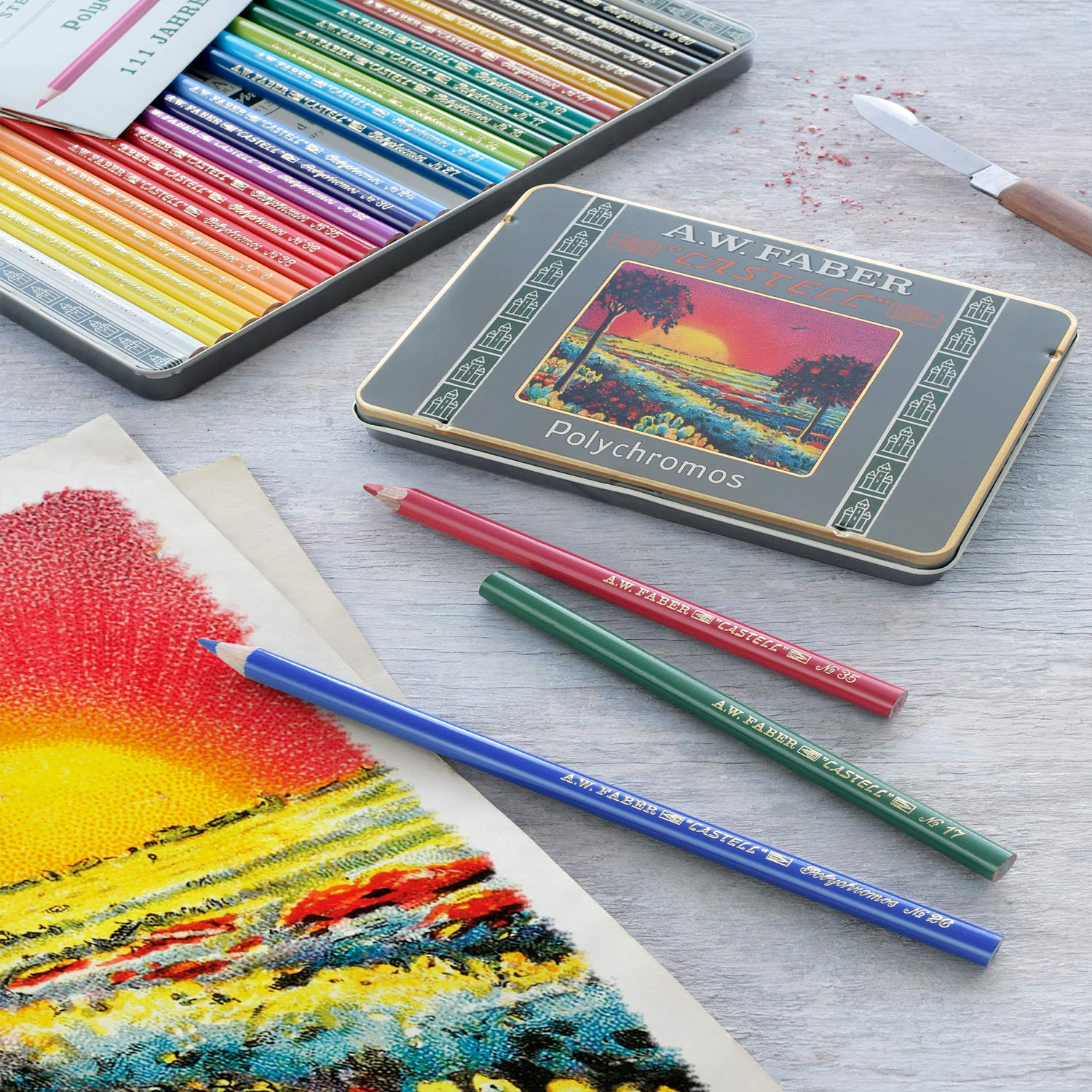 Faber-Castell Polychromos 111th Anniversary Limited Edition Wood Colored Pencil Tin - 12 Colors by Faber-Castell (Image #7)