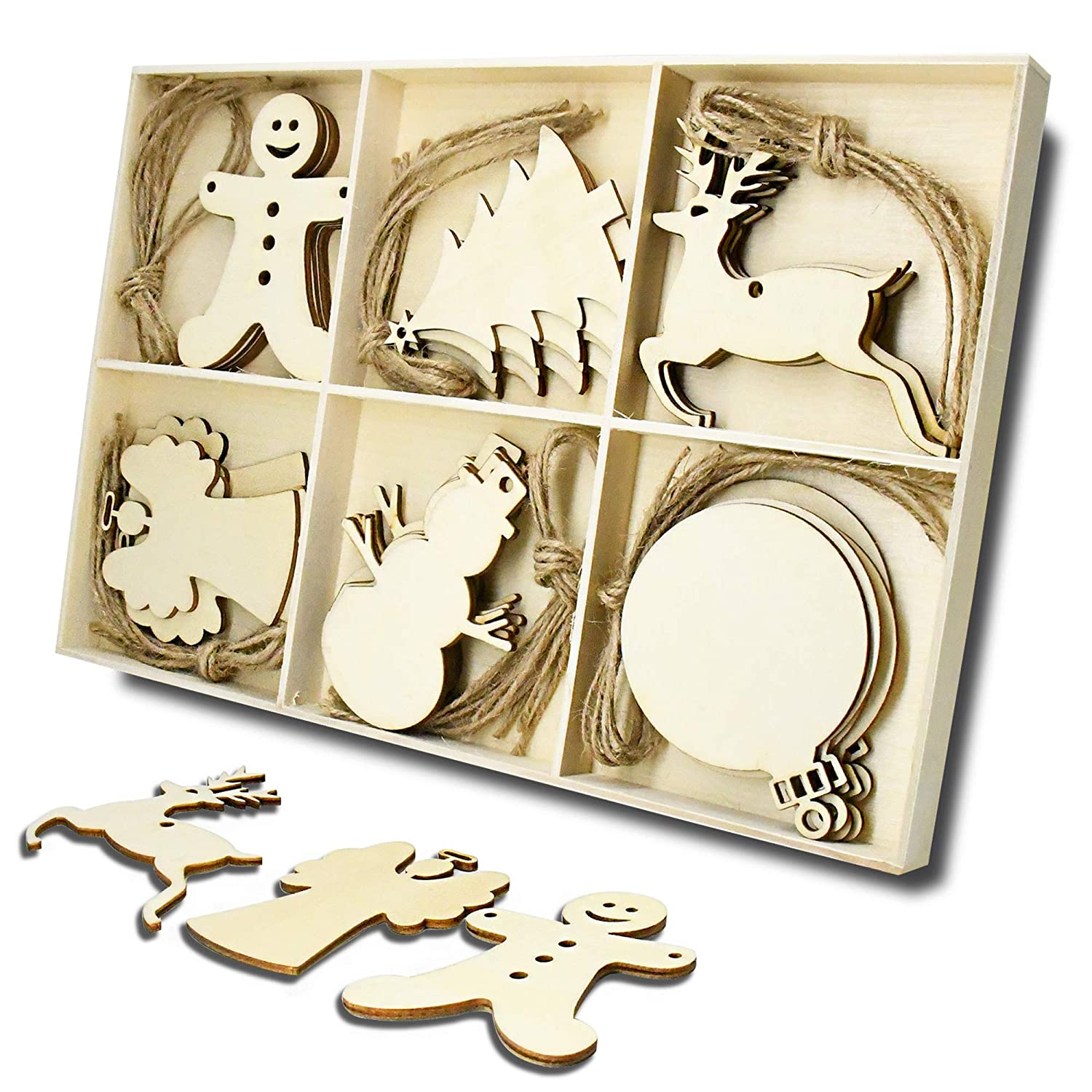 Wooden Christmas Tree and Snowman Shaped Embellishments Hanging Ornaments Decoration with Natural Twine (Each of 5) JHYQ-CA