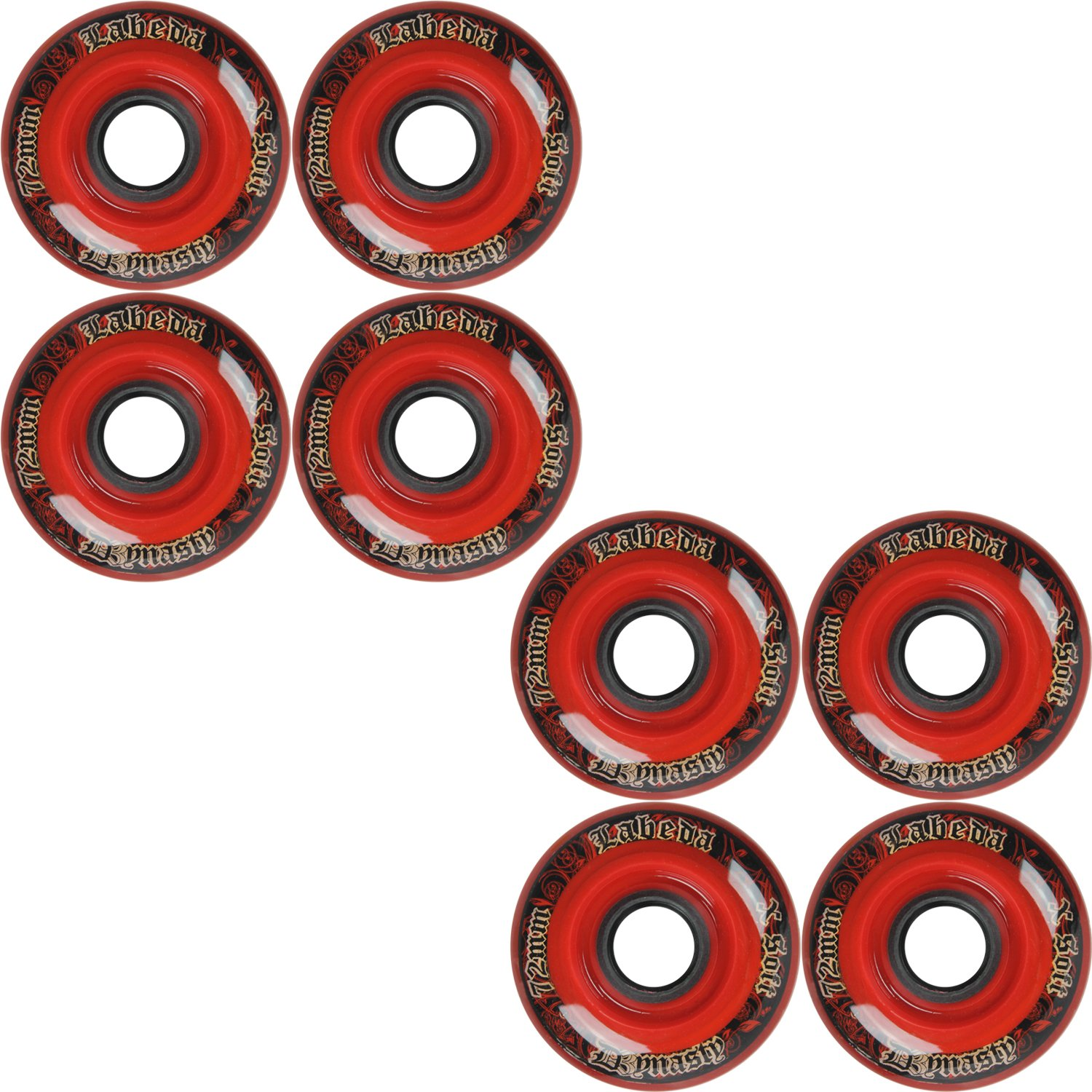 Labeda Wheels Inline Roller Hockey Dynasty 3 72mm X-Soft Red 8-Pack