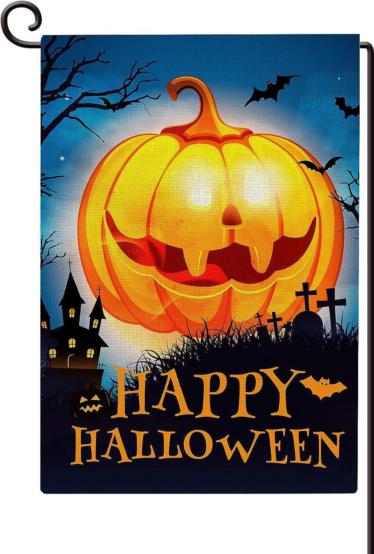 Agantree art Happy Halloween Garden Flag, Vertical Double Sided Autumn Burlap Yard Flag Decor 12 x 18 Inch