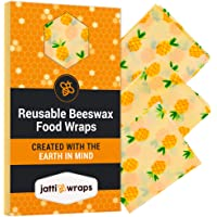 Reusable Beeswax Wraps Set - Plastic Free, Sustainable and Reusable Food Wrap - Bees Wax Wraps are A Natural Alternative to Cling Wrap - 3 Pack of Assorted Designs