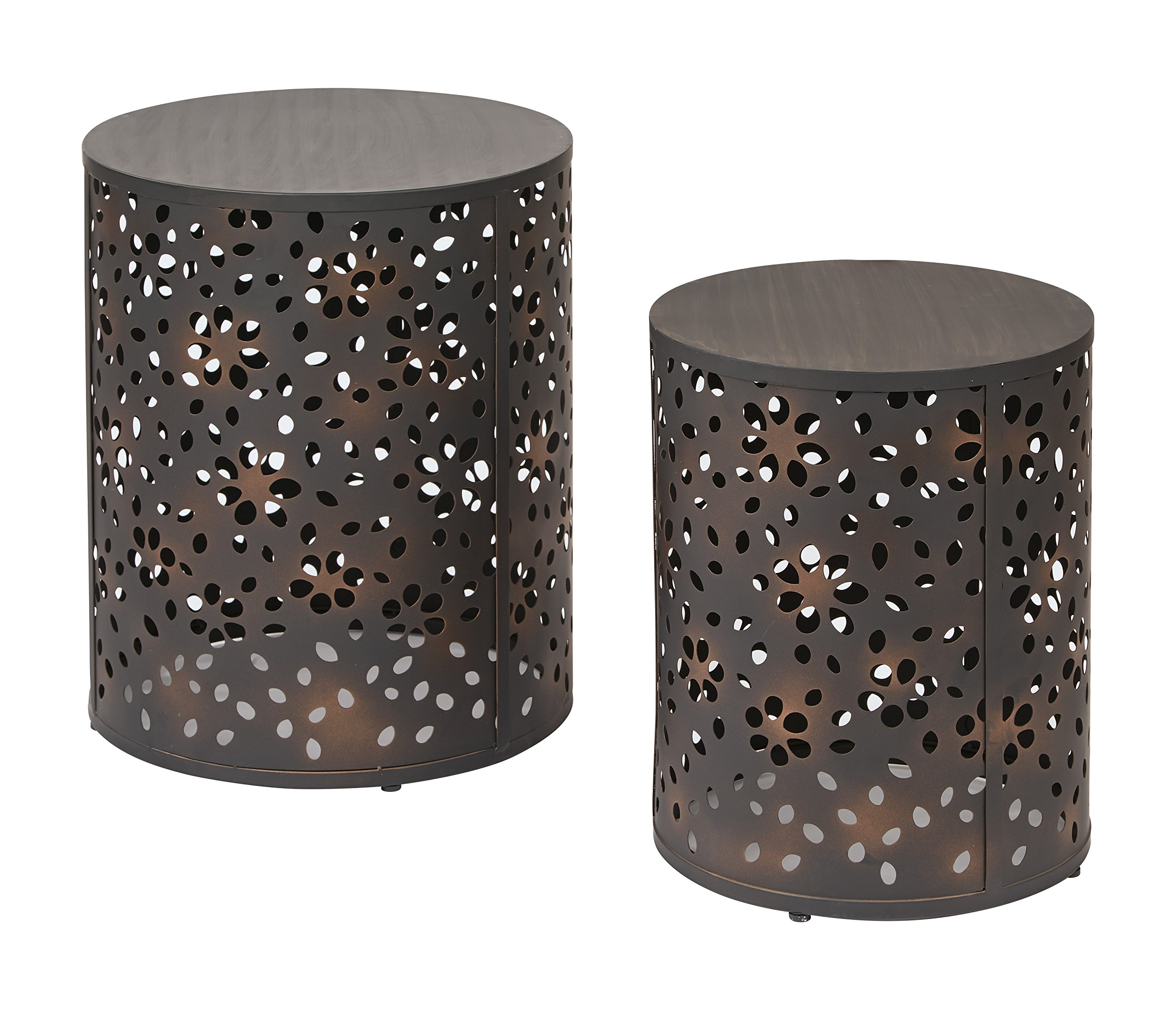 Office Star Middleton 2 Piece Round Accent Tables Set, Rustic Metal Finish by OSP Designs