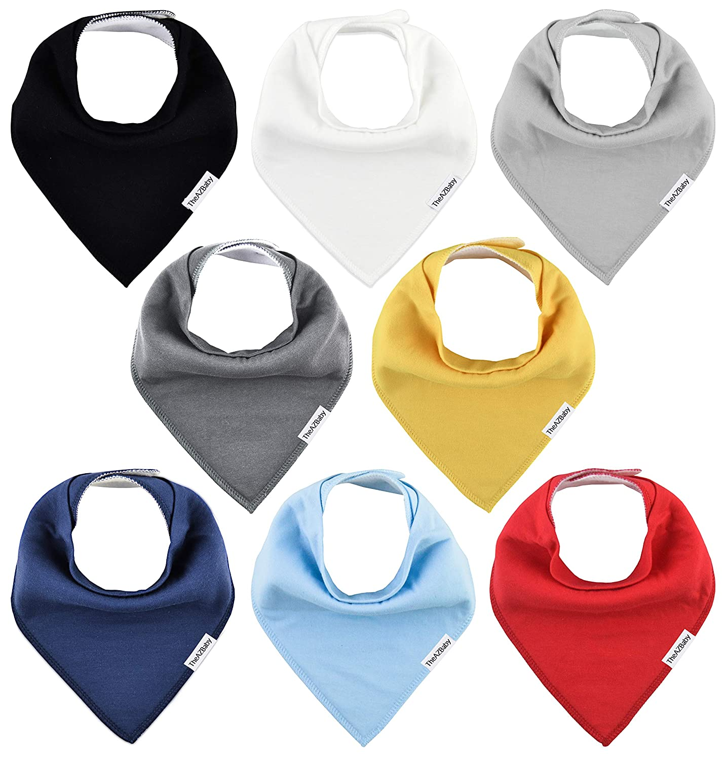 TheAZBaby Baby Bandana Drool Bibs for Boys and Girls, Organic, Plain colors, Unisex 8 Pack Baby Shower Gift Set for Teething and Drooling, Soft Absorbent and Hypoallergenic ( Solid Colors )